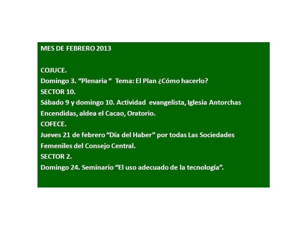 MES DE MARZO DE 2013.CECIC – SECTOR 9. Sábado 2.