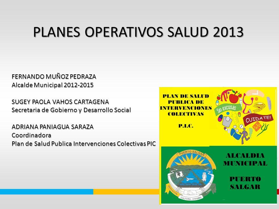 PLANES OPERATIVOS SALUD 2013 PLANES OPERATIVOS SALUD 2013 FERNANDO MUÑOZ PEDRAZA Alcalde Municipal 2012-2015 SUGEY PAOLA VAHOS CARTAGENA Secretaria de