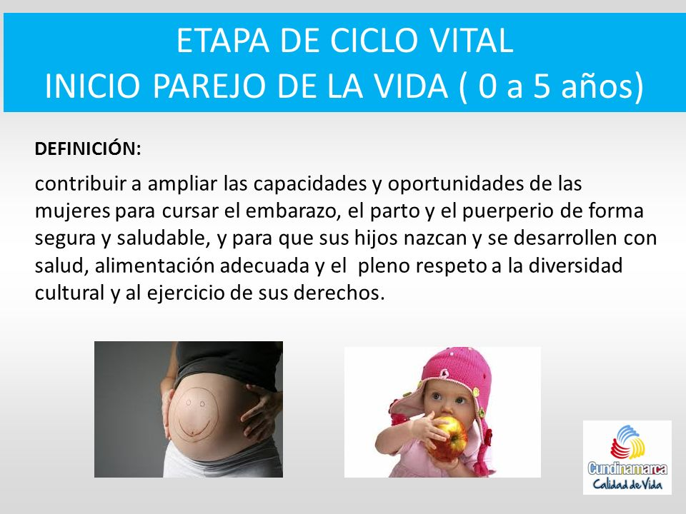 ETAPA DE CICLO VITAL INICIO PAREJO DE LA VIDA ( 0 a 5 años) DEFINICIÓN: contribuir a ampliar las capacidades y oportunidades de las mujeres para cursa