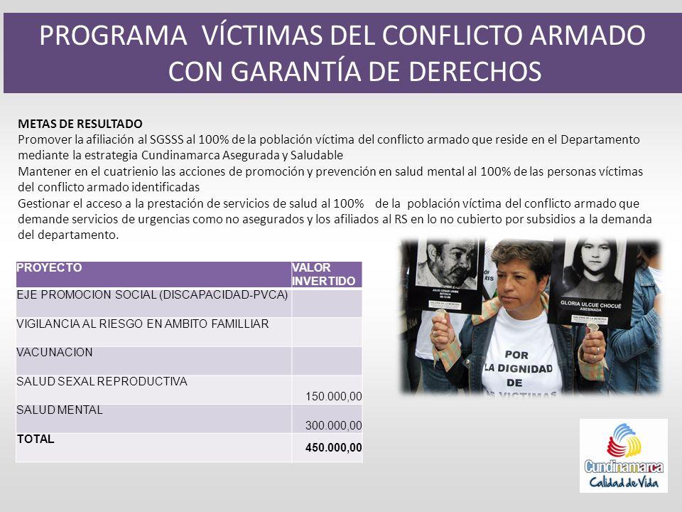 PROGRAMA VÍCTIMAS DEL CONFLICTO ARMADO CON GARANTÍA DE DERECHOS METAS DE RESULTADO Promover la afiliación al SGSSS al 100% de la población víctima del