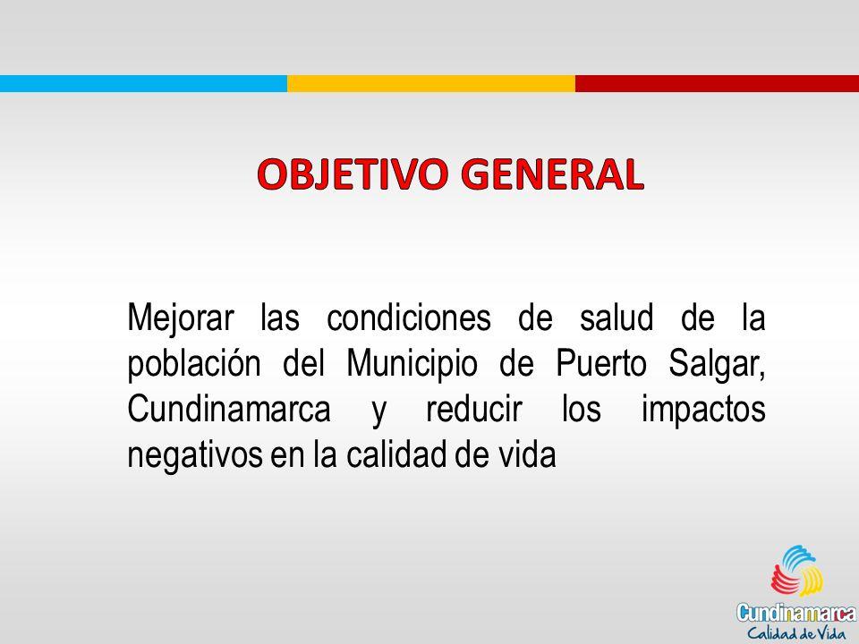 Mejorar las condiciones de salud de la población del Municipio de Puerto Salgar, Cundinamarca y reducir los impactos negativos en la calidad de vida