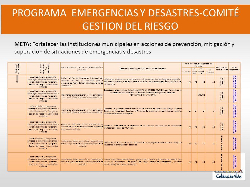 PROGRAMA EMERGENCIAS Y DESASTRES-COMITÉ GESTION DEL RIESGO META: Fortalecer las instituciones municipales en acciones de prevención, mitigación y supe
