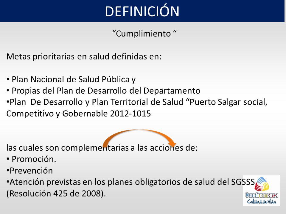 DEFINICIÓN Cumplimiento Metas prioritarias en salud definidas en: Plan Nacional de Salud Pública y Propias del Plan de Desarrollo del Departamento Pla