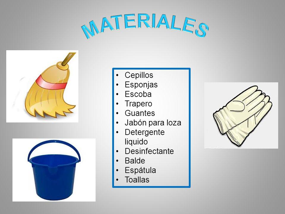 Cepillos Esponjas Escoba Trapero Guantes Jabón para loza Detergente liquido Desinfectante Balde Espátula Toallas