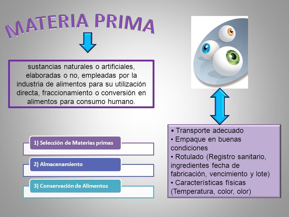 sustancias naturales o artificiales, elaboradas o no, empleadas por la industria de alimentos para su utilización directa, fraccionamiento o conversió