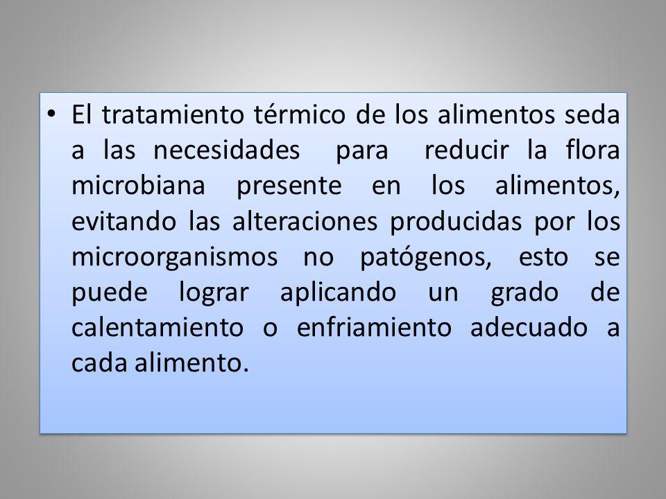 El tratamiento térmico de los alimentos seda a las necesidades para reducir la flora microbiana presente en los alimentos, evitando las alteraciones p