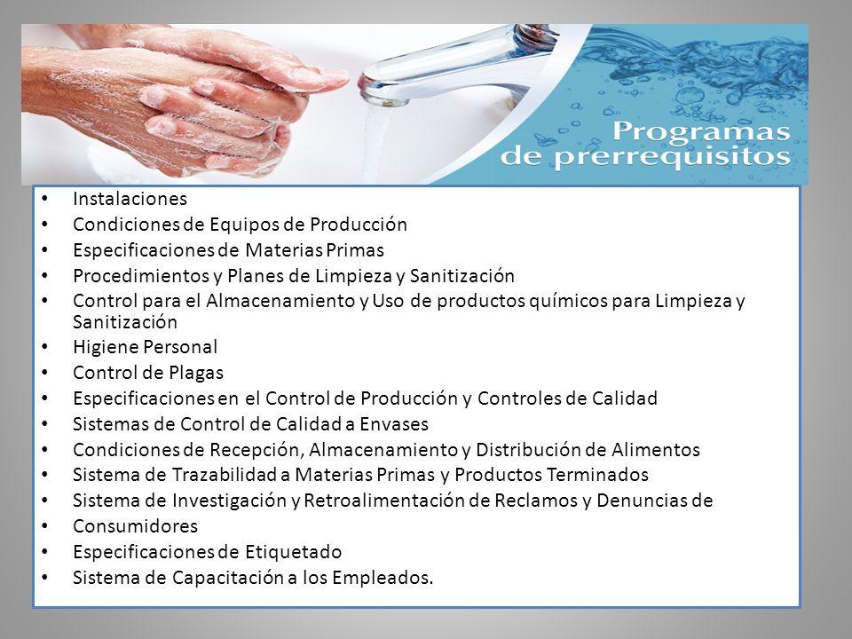 Instalaciones Condiciones de Equipos de Producción Especificaciones de Materias Primas Procedimientos y Planes de Limpieza y Sanitización Control para
