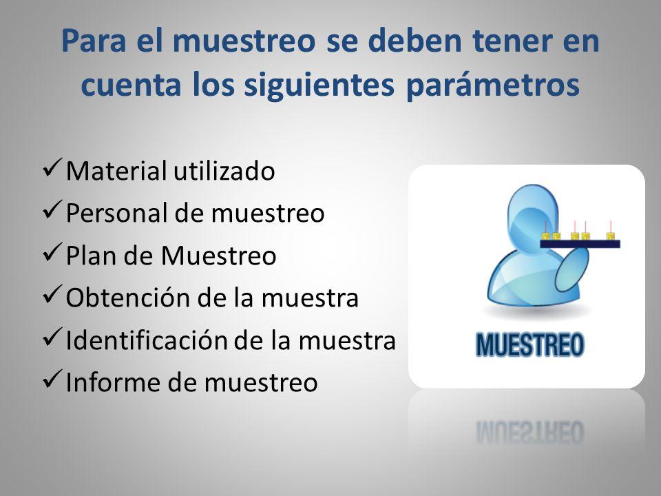 Para el muestreo se deben tener en cuenta los siguientes parámetros Material utilizado Personal de muestreo Plan de Muestreo Obtención de la muestra I
