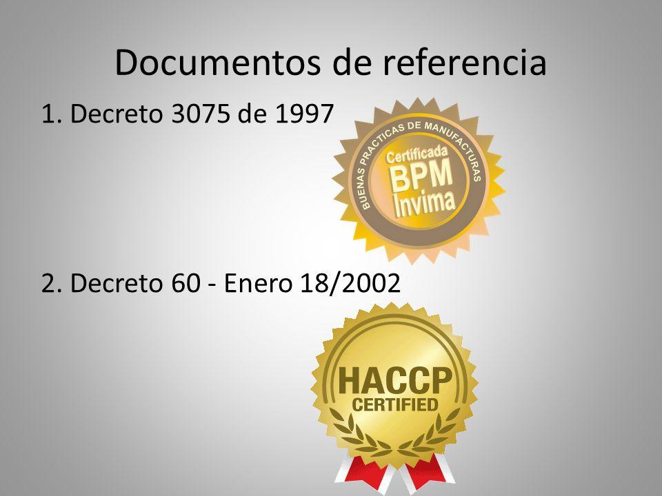 Documentos de referencia 1. Decreto 3075 de 1997 2. Decreto 60 - Enero 18/2002