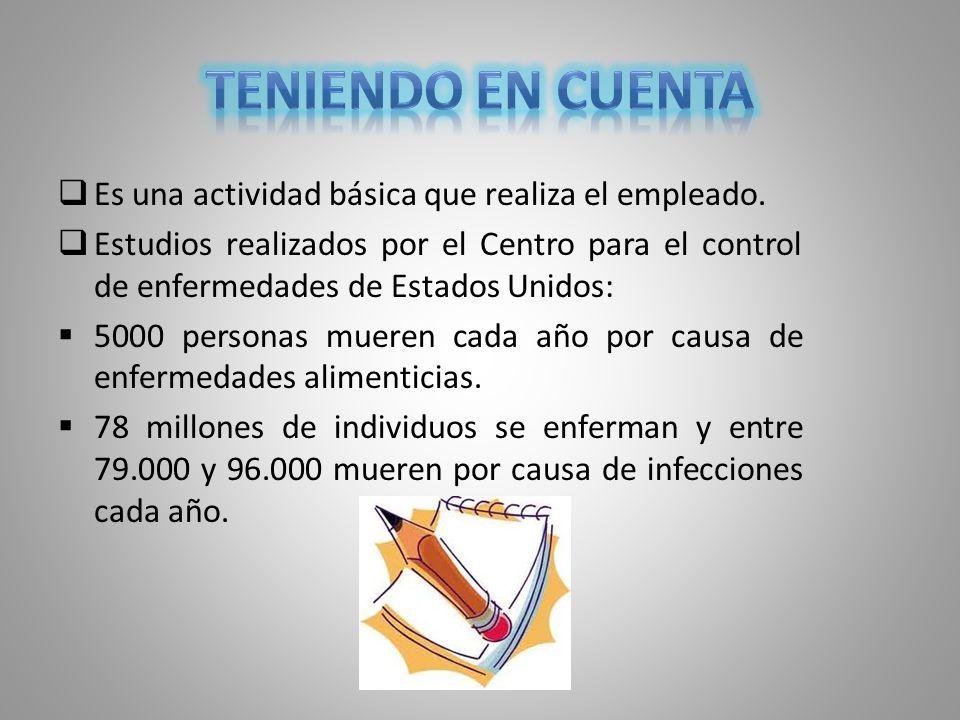 Es una actividad básica que realiza el empleado. Estudios realizados por el Centro para el control de enfermedades de Estados Unidos: 5000 personas mu
