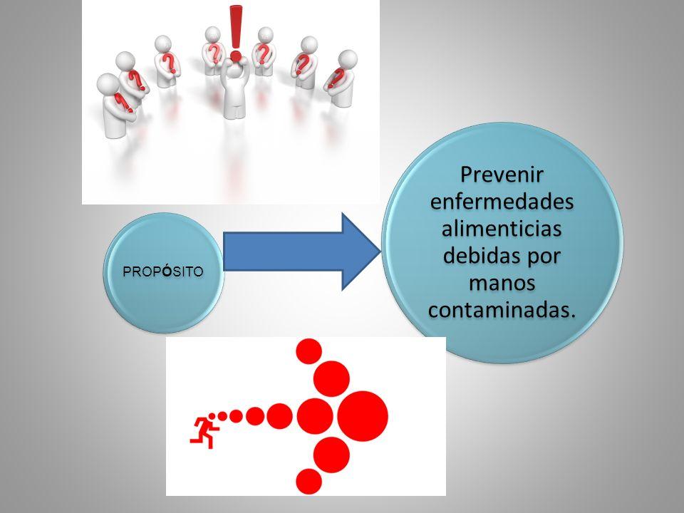 Prevenir enfermedades alimenticias debidas por manos contaminadas. PROPÓSITO