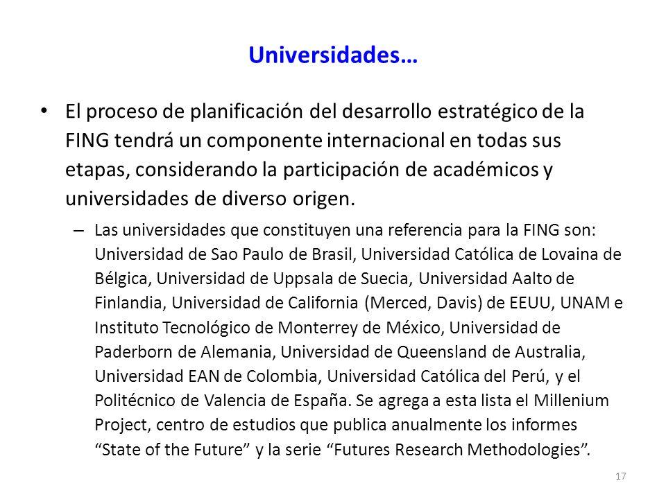 Universidades… El proceso de planificación del desarrollo estratégico de la FING tendrá un componente internacional en todas sus etapas, considerando la participación de académicos y universidades de diverso origen.