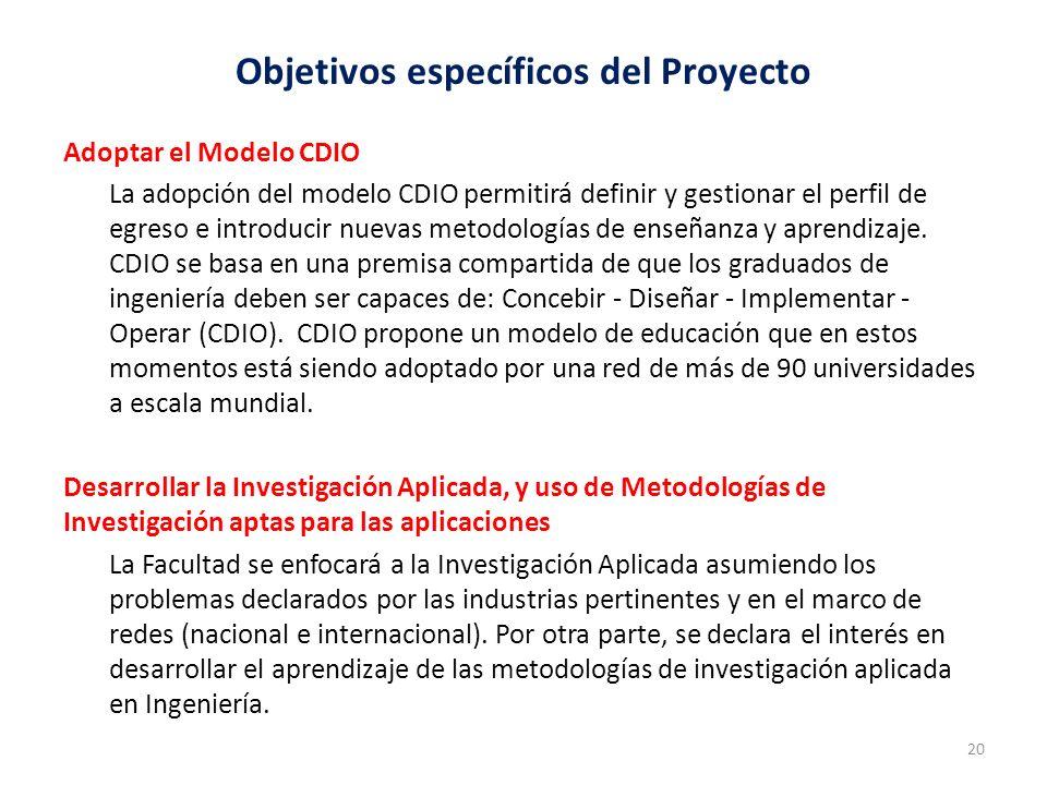 Objetivos específicos del Proyecto Adoptar el Modelo CDIO La adopción del modelo CDIO permitirá definir y gestionar el perfil de egreso e introducir nuevas metodologías de enseñanza y aprendizaje.