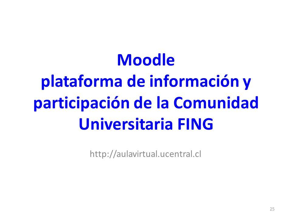 Moodle plataforma de información y participación de la Comunidad Universitaria FING http://aulavirtual.ucentral.cl 25