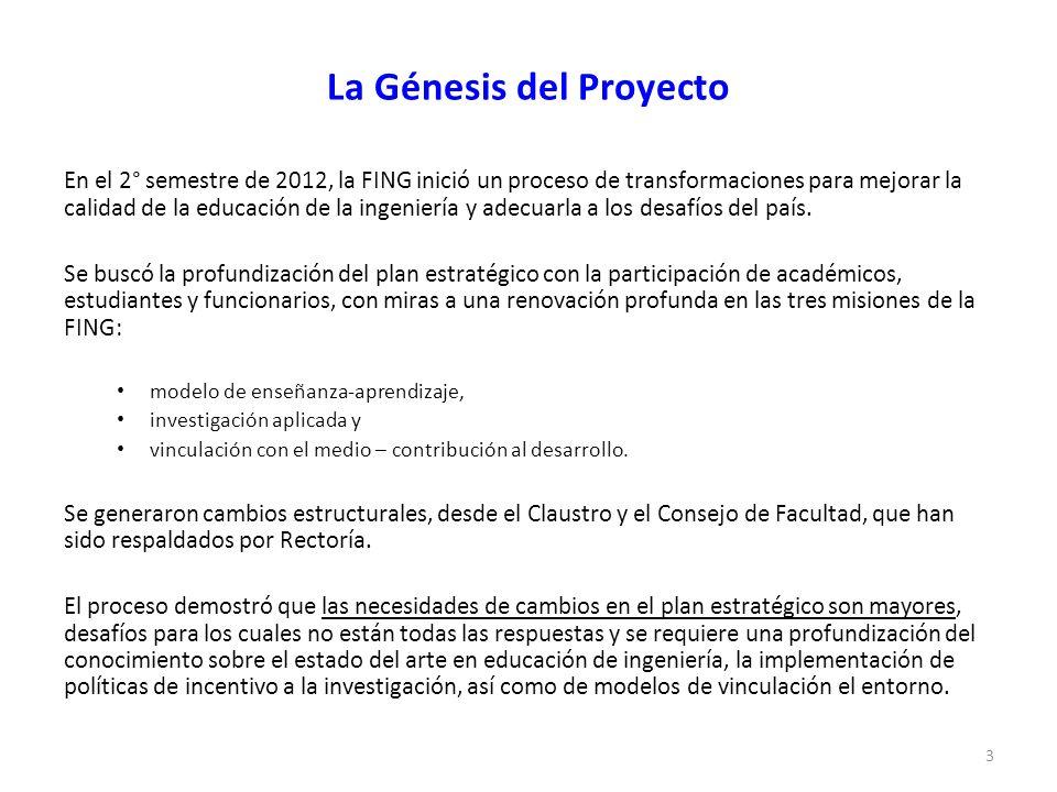 La Génesis del Proyecto En el 2° semestre de 2012, la FING inició un proceso de transformaciones para mejorar la calidad de la educación de la ingeniería y adecuarla a los desafíos del país.