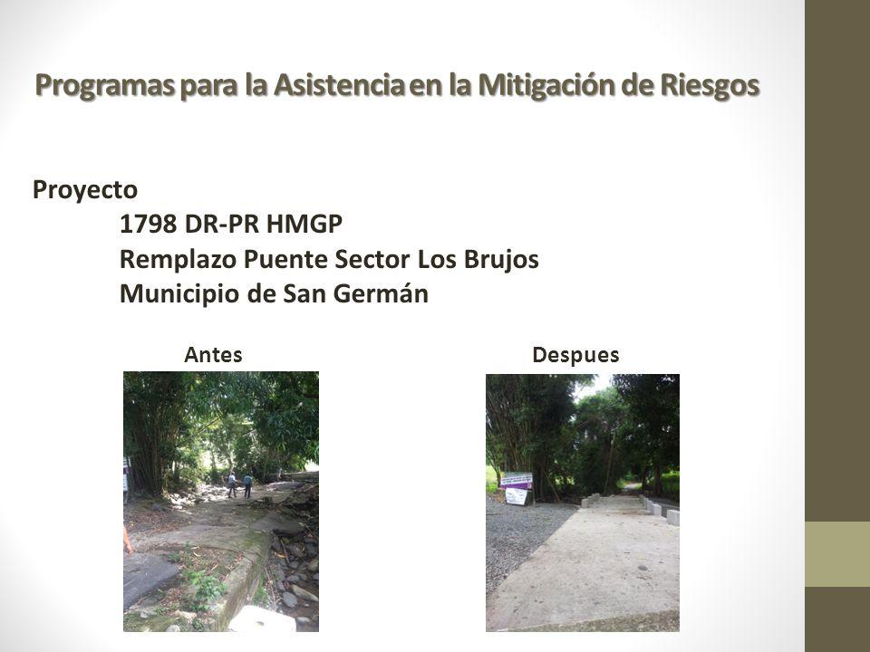 Programas para la Asistencia en la Mitigación de Riesgos Proyecto 1798 DR-PR HMGP Remplazo Puente Sector Los Brujos Municipio de San Germán AntesDespu