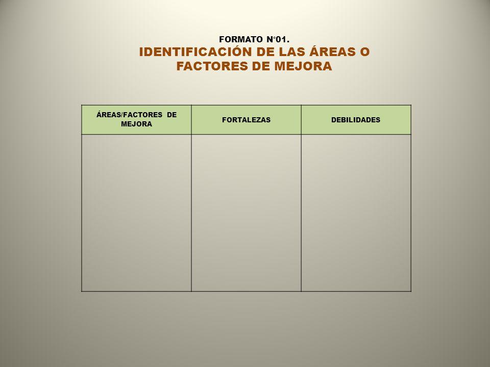 ÁREAS/FACTORES DE MEJORA FORTALEZASDEBILIDADES FORMATO N°01. IDENTIFICACIÓN DE LAS ÁREAS O FACTORES DE MEJORA