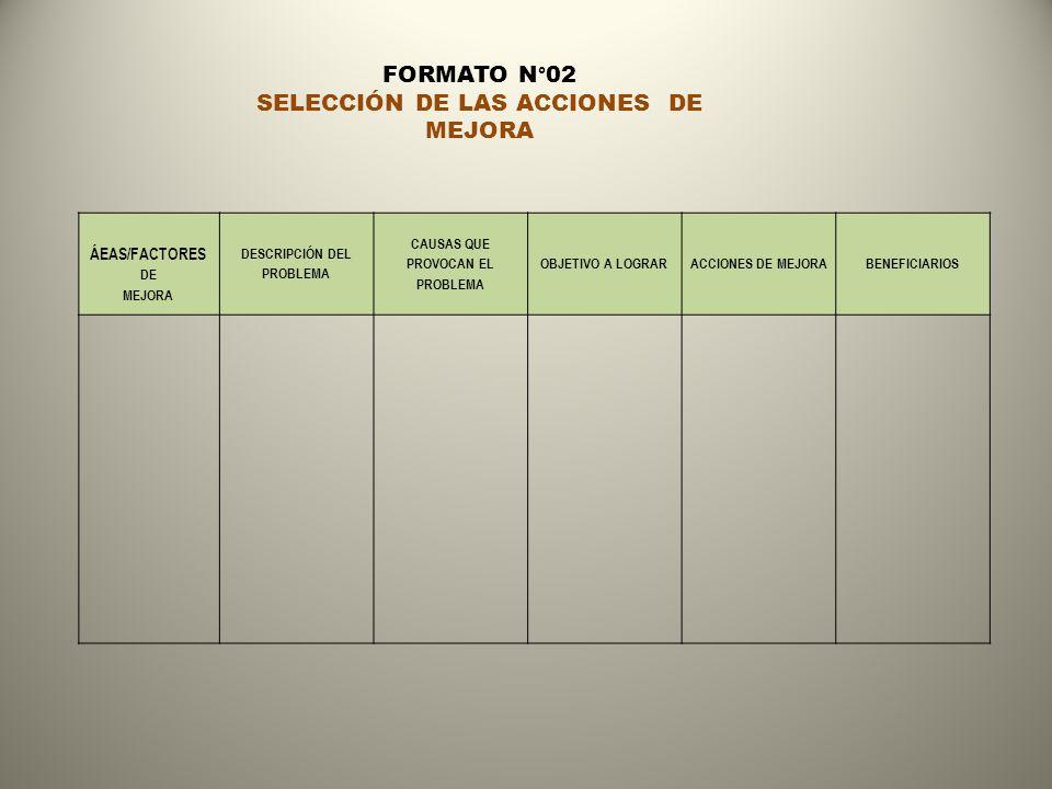 ÁEAS/FACTORES DE MEJORA DESCRIPCIÓN DEL PROBLEMA CAUSAS QUE PROVOCAN EL PROBLEMA OBJETIVO A LOGRARACCIONES DE MEJORABENEFICIARIOS FORMATO N°02 SELECCI