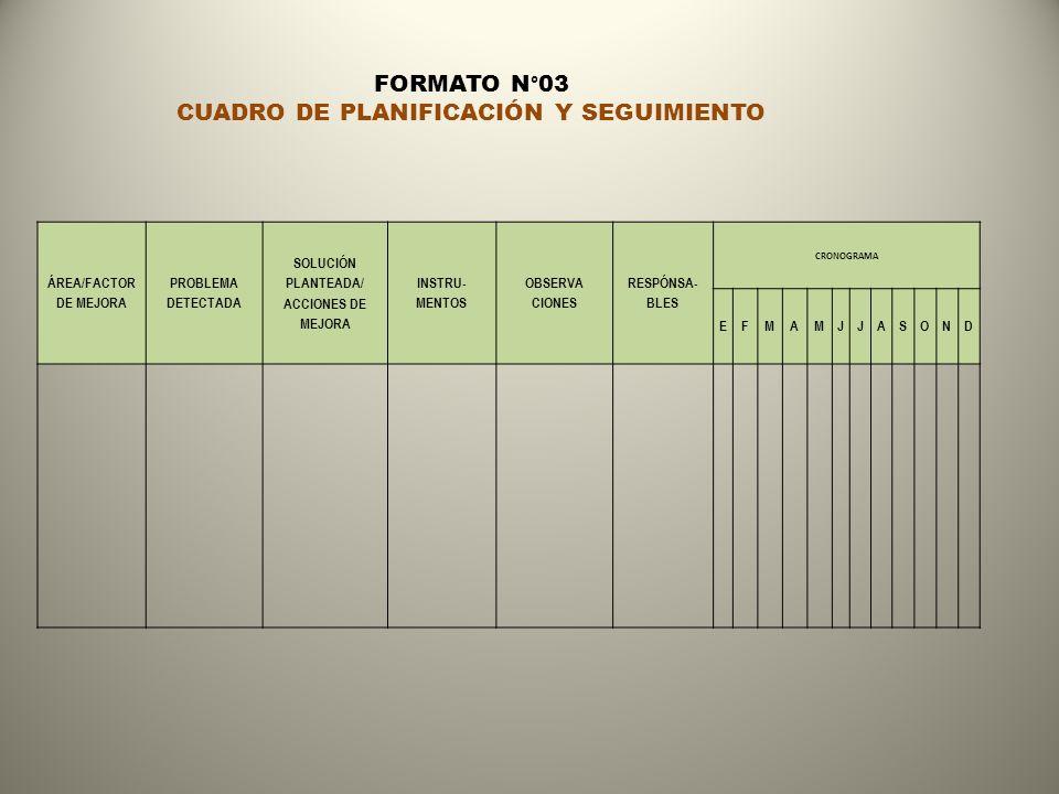 ÁREA/FACTOR DE MEJORA PROBLEMA DETECTADA SOLUCIÓN PLANTEADA/ ACCIONES DE MEJORA INSTRU- MENTOS OBSERVA CIONES RESPÓNSA- BLES CRONOGRAMA EFMAMJJASOND FORMATO N°03 CUADRO DE PLANIFICACIÓN Y SEGUIMIENTO
