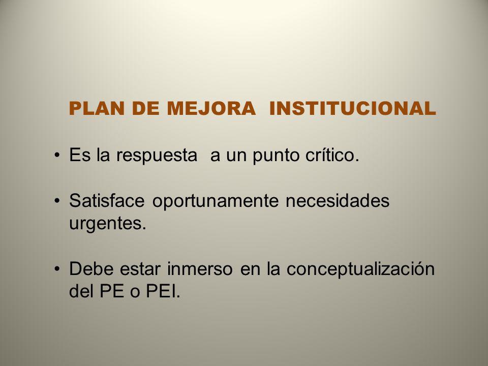 PLAN DE MEJORA INSTITUCIONAL Es la respuesta a un punto crítico.