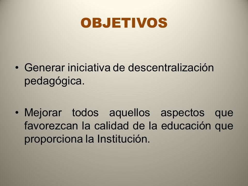 OBJETIVOS Generar iniciativa de descentralización pedagógica. Mejorar todos aquellos aspectos que favorezcan la calidad de la educación que proporcion