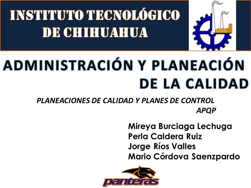 PLANEACIONES DE CALIDAD Y PLANES DE CONTROL APQP Mireya Burciaga Lechuga Perla Caldera Ruiz Jorge Ríos Valles Mario Córdova Saenzpardo