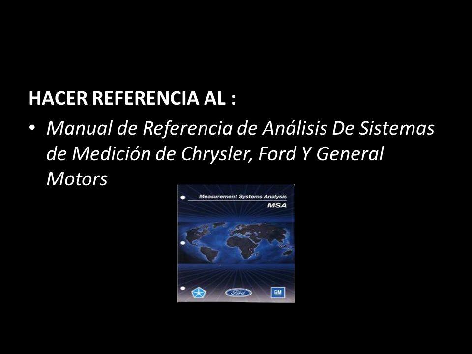 HACER REFERENCIA AL : Manual de Referencia de Análisis De Sistemas de Medición de Chrysler, Ford Y General Motors
