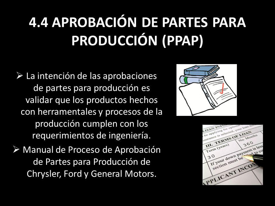 4.4 APROBACIÓN DE PARTES PARA PRODUCCIÓN (PPAP) La intención de las aprobaciones de partes para producción es validar que los productos hechos con her
