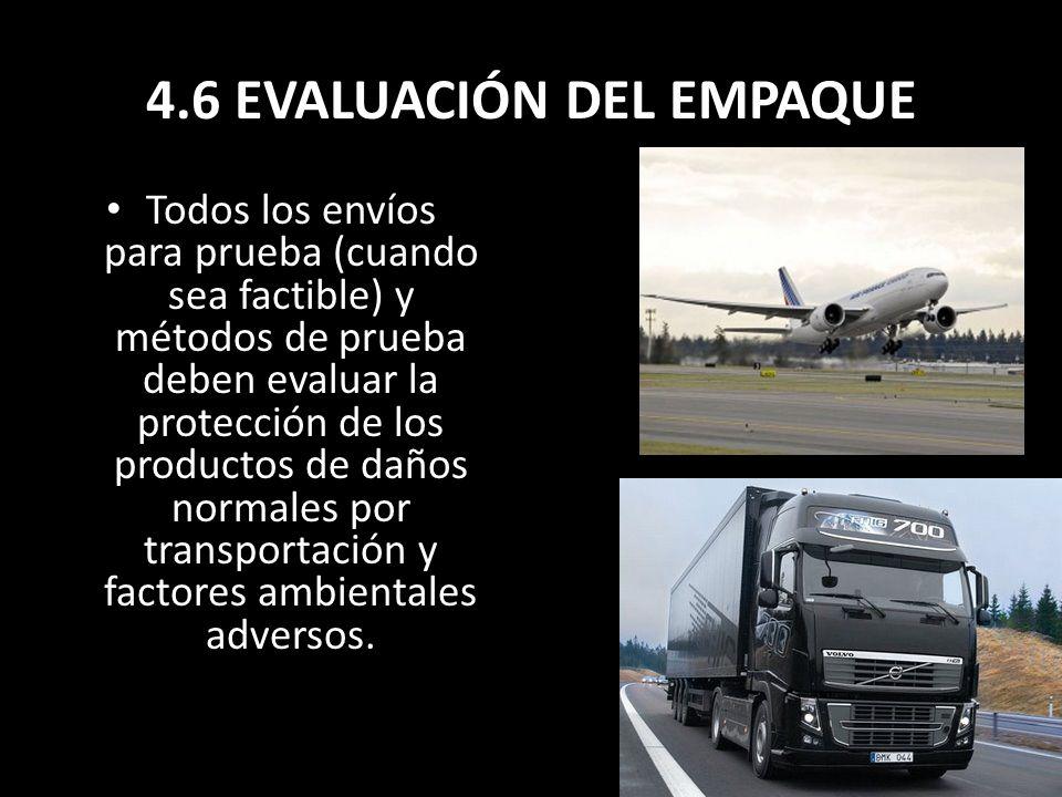4.6 EVALUACIÓN DEL EMPAQUE Todos los envíos para prueba (cuando sea factible) y métodos de prueba deben evaluar la protección de los productos de daño