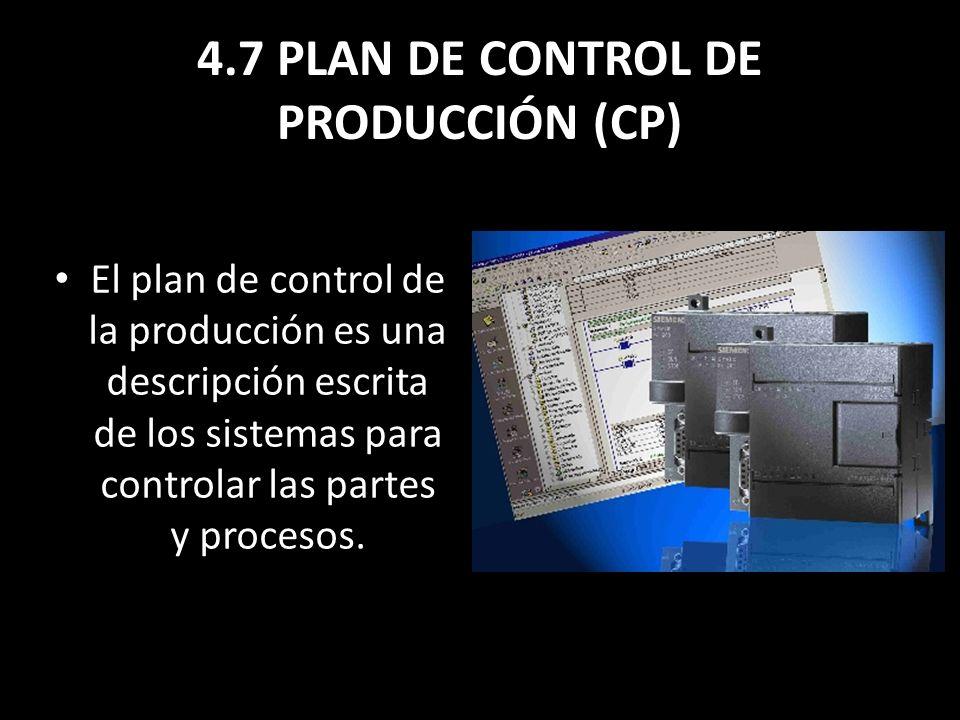 4.7 PLAN DE CONTROL DE PRODUCCIÓN (CP) El plan de control de la producción es una descripción escrita de los sistemas para controlar las partes y proc