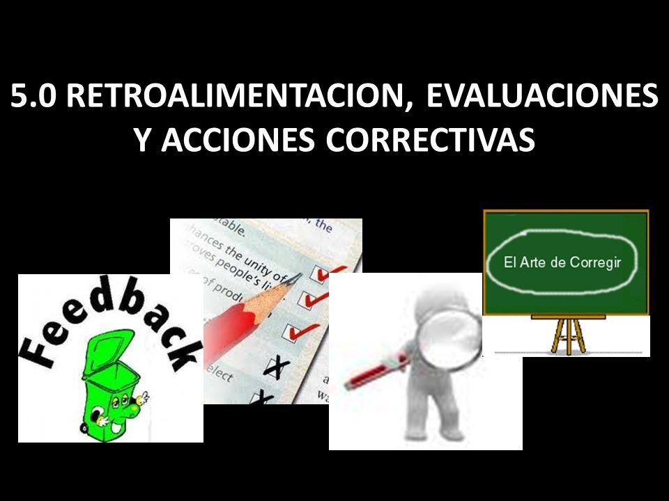 5.0 RETROALIMENTACION, EVALUACIONES Y ACCIONES CORRECTIVAS