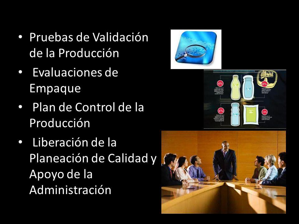 Pruebas de Validación de la Producción Evaluaciones de Empaque Plan de Control de la Producción Liberación de la Planeación de Calidad y Apoyo de la A