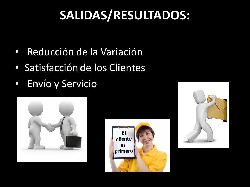 SALIDAS/RESULTADOS: Reducción de la Variación Satisfacción de los Clientes Envío y Servicio