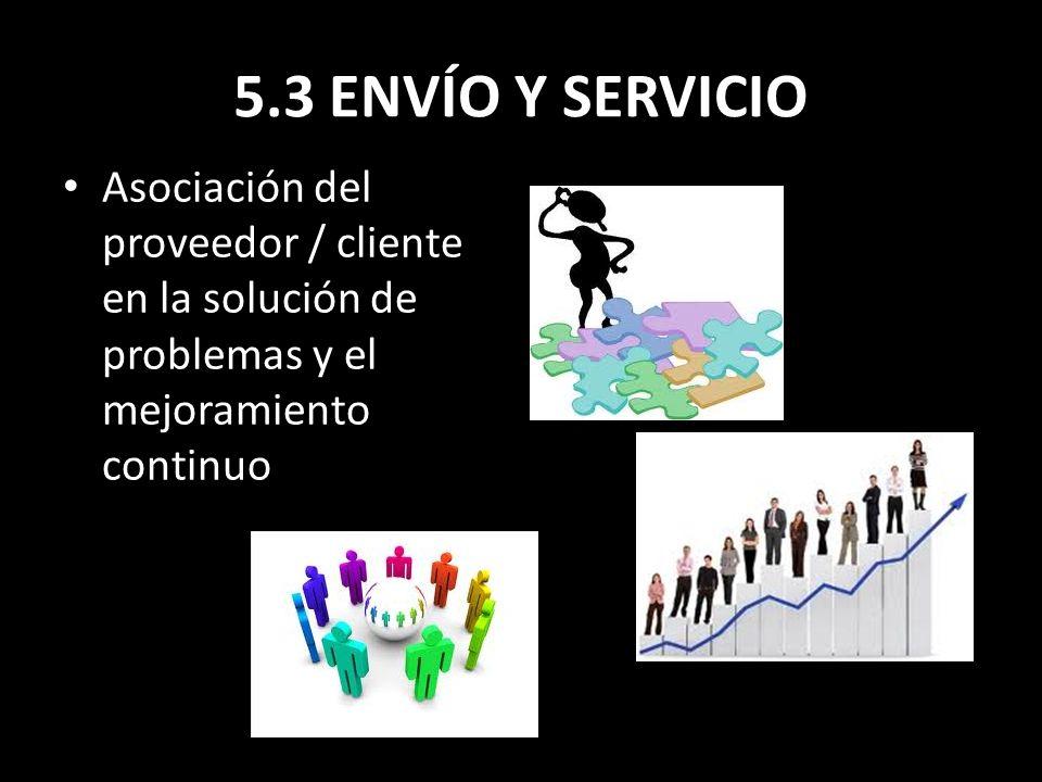 5.3 ENVÍO Y SERVICIO Asociación del proveedor / cliente en la solución de problemas y el mejoramiento continuo