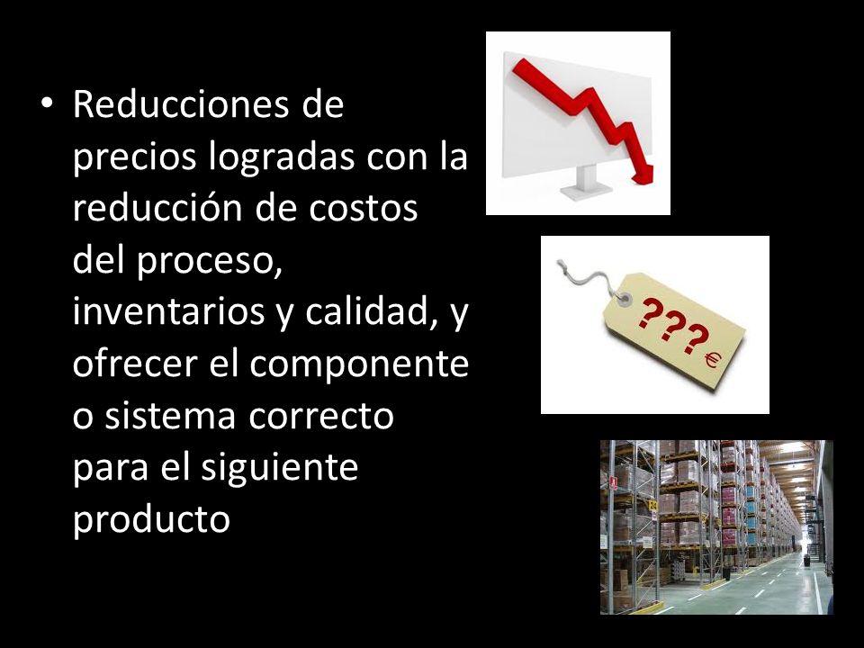 Reducciones de precios logradas con la reducción de costos del proceso, inventarios y calidad, y ofrecer el componente o sistema correcto para el sigu