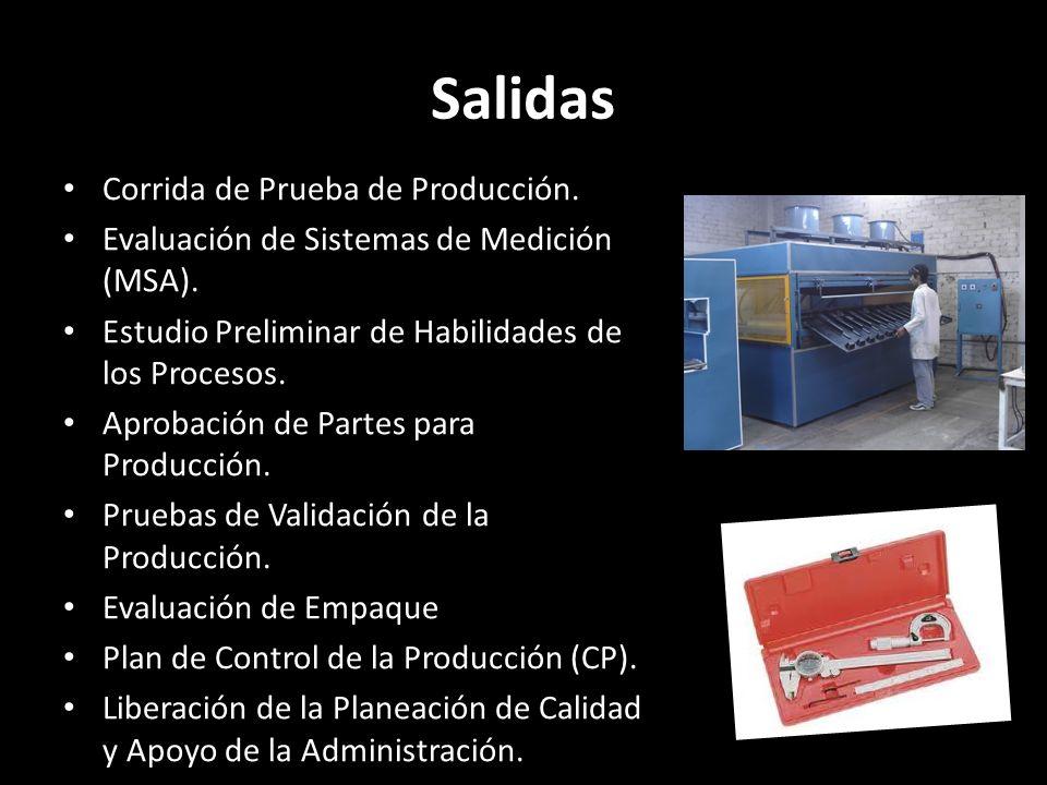 Salidas Corrida de Prueba de Producción. Evaluación de Sistemas de Medición (MSA). Estudio Preliminar de Habilidades de los Procesos. Aprobación de Pa