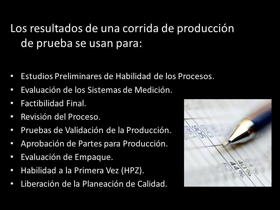 Los resultados de una corrida de producción de prueba se usan para: Estudios Preliminares de Habilidad de los Procesos. Evaluación de los Sistemas de