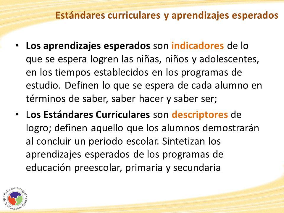 Estándares curriculares y aprendizajes esperados Los aprendizajes esperados son indicadores de lo que se espera logren las niñas, niños y adolescentes