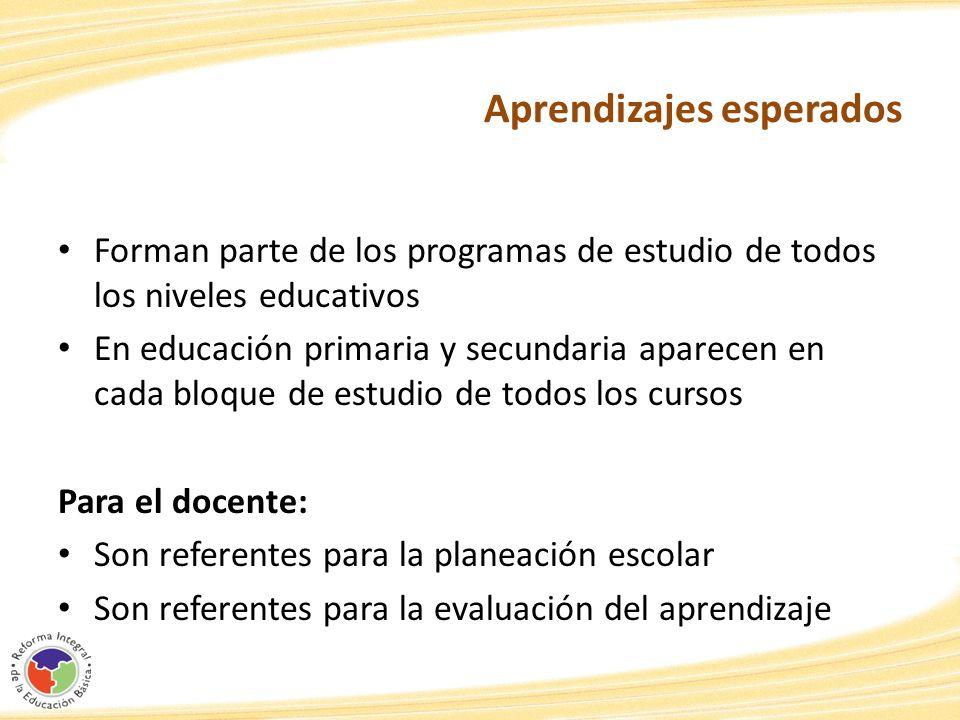 Aprendizajes esperados Forman parte de los programas de estudio de todos los niveles educativos En educación primaria y secundaria aparecen en cada bl