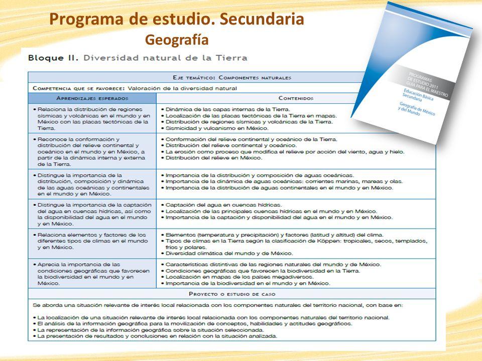 Programa de estudio. Secundaria Geografía