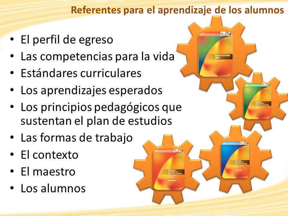 El perfil de egreso Las competencias para la vida Estándares curriculares Los aprendizajes esperados Los principios pedagógicos que sustentan el plan