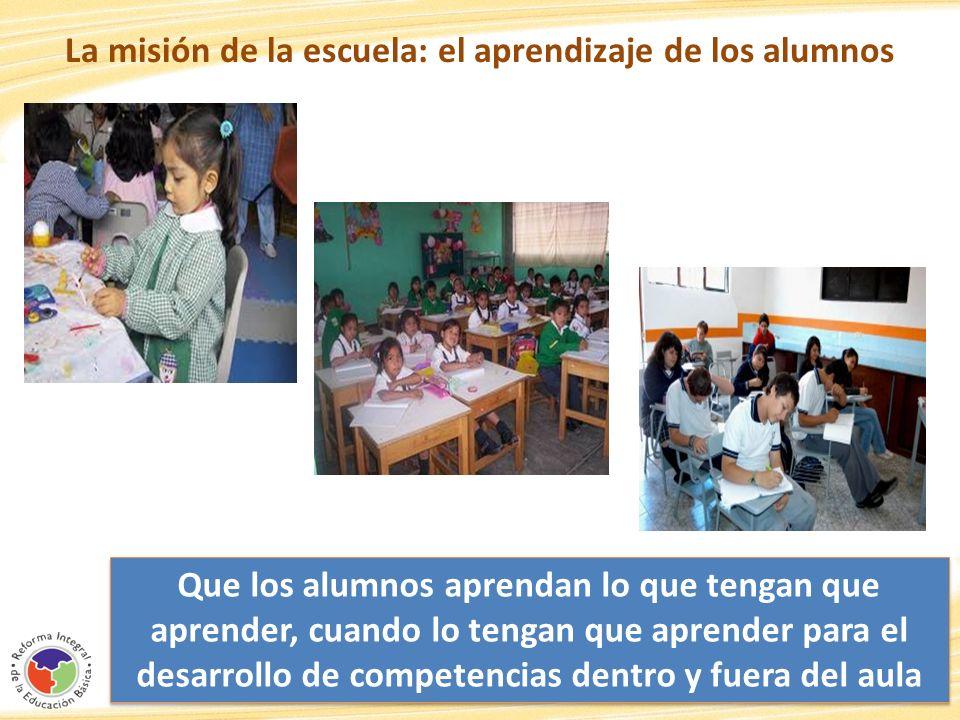 La misión de la escuela: el aprendizaje de los alumnos 22 Que los alumnos aprendan lo que tengan que aprender, cuando lo tengan que aprender para el d