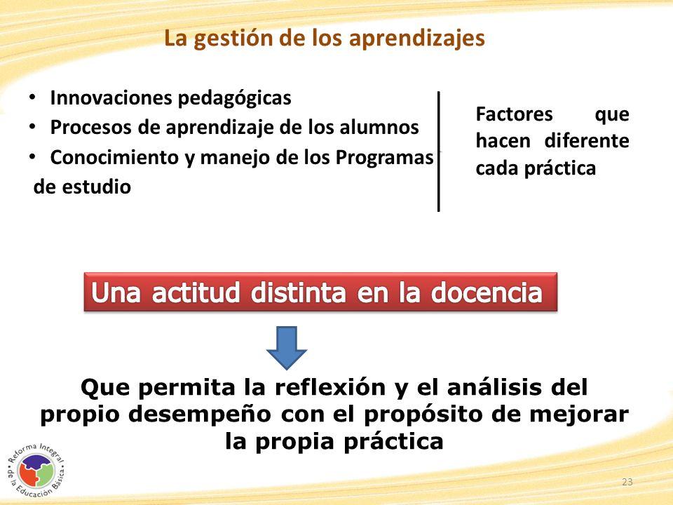 La gestión de los aprendizajes Innovaciones pedagógicas Procesos de aprendizaje de los alumnos Conocimiento y manejo de los Programas de estudio 23 Qu