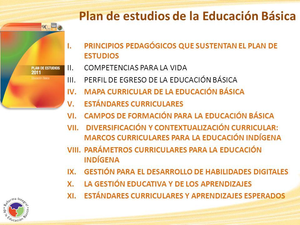 Plan de estudios de la Educación Básica I.PRINCIPIOS PEDAGÓGICOS QUE SUSTENTAN EL PLAN DE ESTUDIOS II.COMPETENCIAS PARA LA VIDA III.PERFIL DE EGRESO D