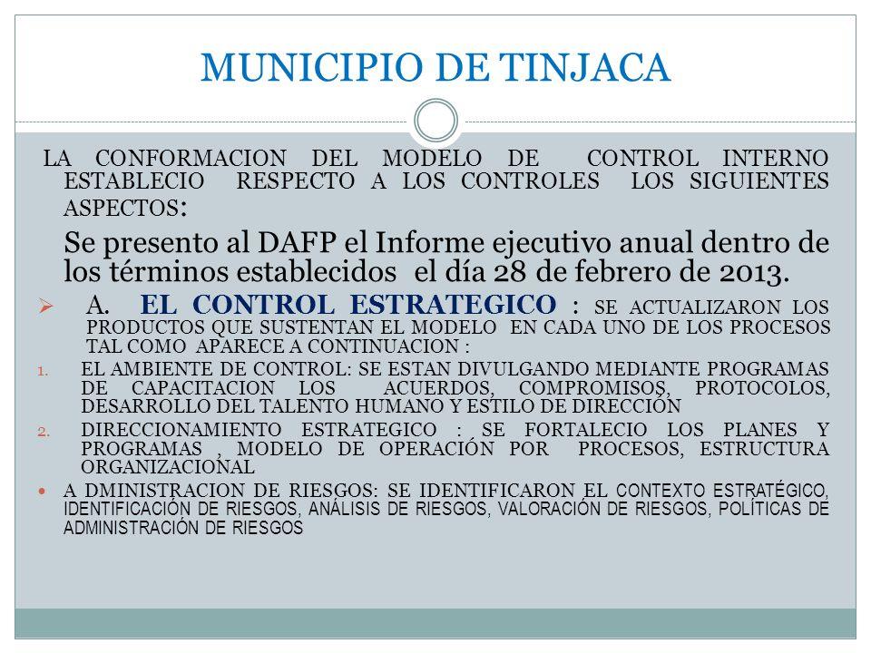 MUNICIPIO DE TINJACA LA CONFORMACION DEL MODELO DE CONTROL INTERNO ESTABLECIO RESPECTO A LOS CONTROLES LOS SIGUIENTES ASPECTOS : Se presento al DAFP e