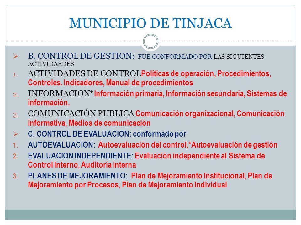 MUNICIPIO DE TINJACA B. CONTROL DE GESTION: FUE CONFORMADO POR LAS SIGUIENTES ACTIVIDAEDES 1. ACTIVIDADES DE CONTROL Políticas de operación, Procedimi