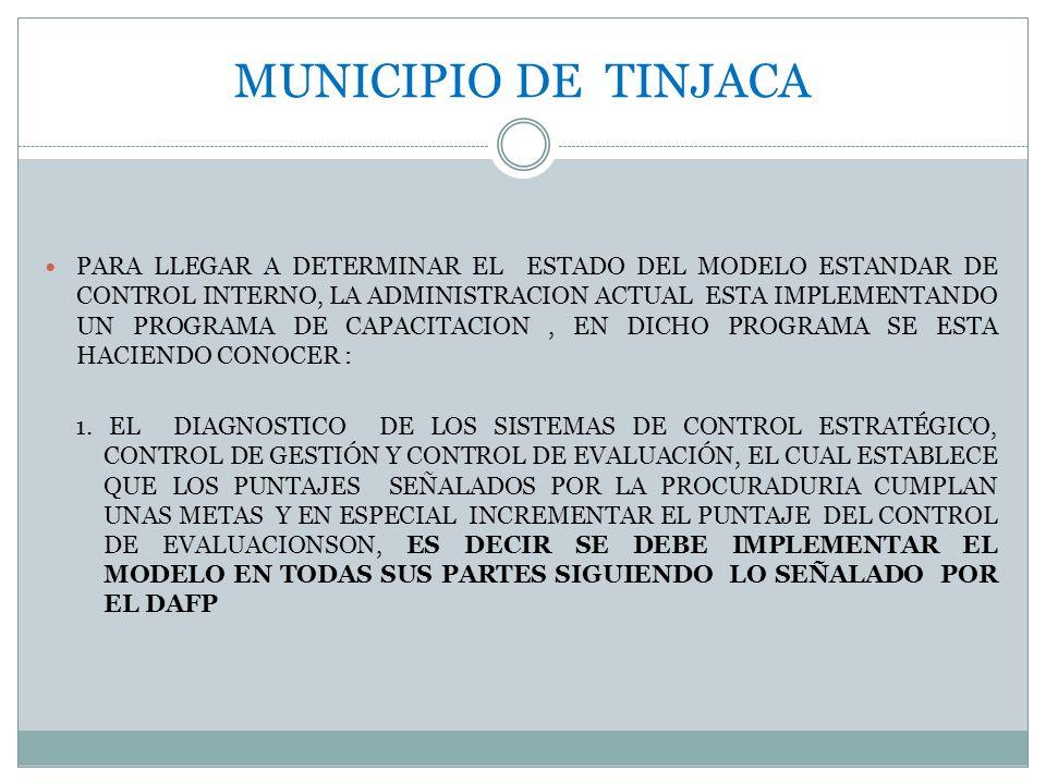 MUNICIPIO DE TINJACA PARA LLEGAR A DETERMINAR EL ESTADO DEL MODELO ESTANDAR DE CONTROL INTERNO, LA ADMINISTRACION ACTUAL ESTA IMPLEMENTANDO UN PROGRAM
