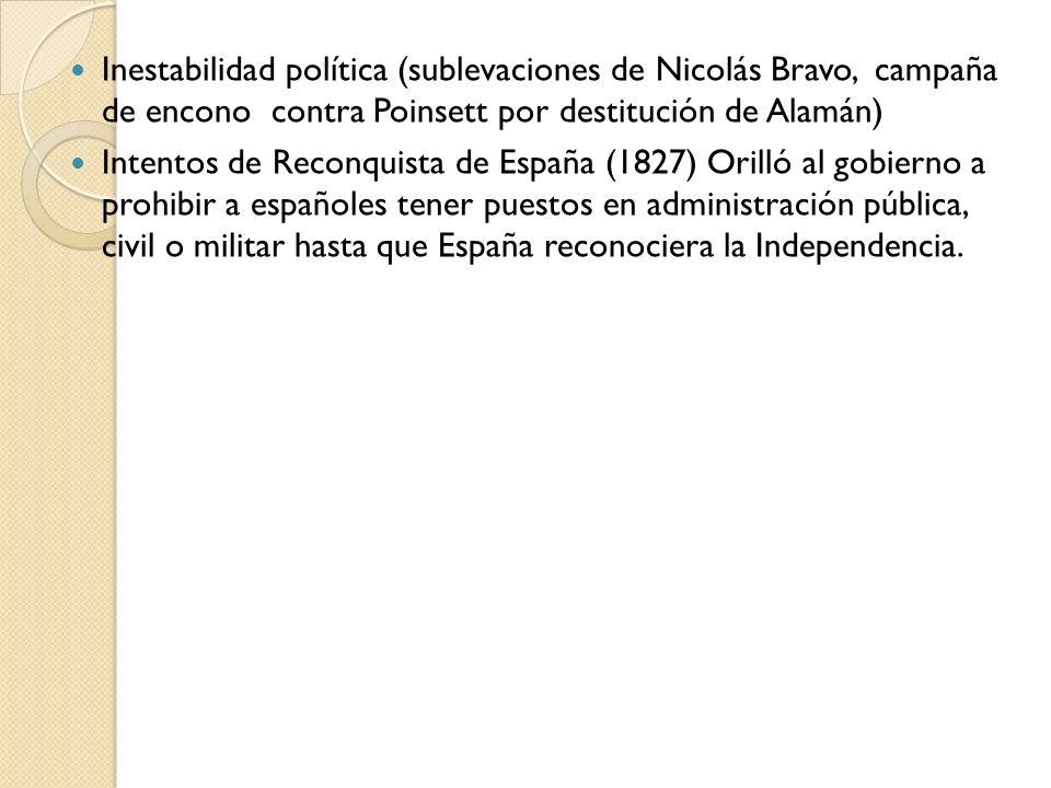Inestabilidad política (sublevaciones de Nicolás Bravo, campaña de encono contra Poinsett por destitución de Alamán) Intentos de Reconquista de España