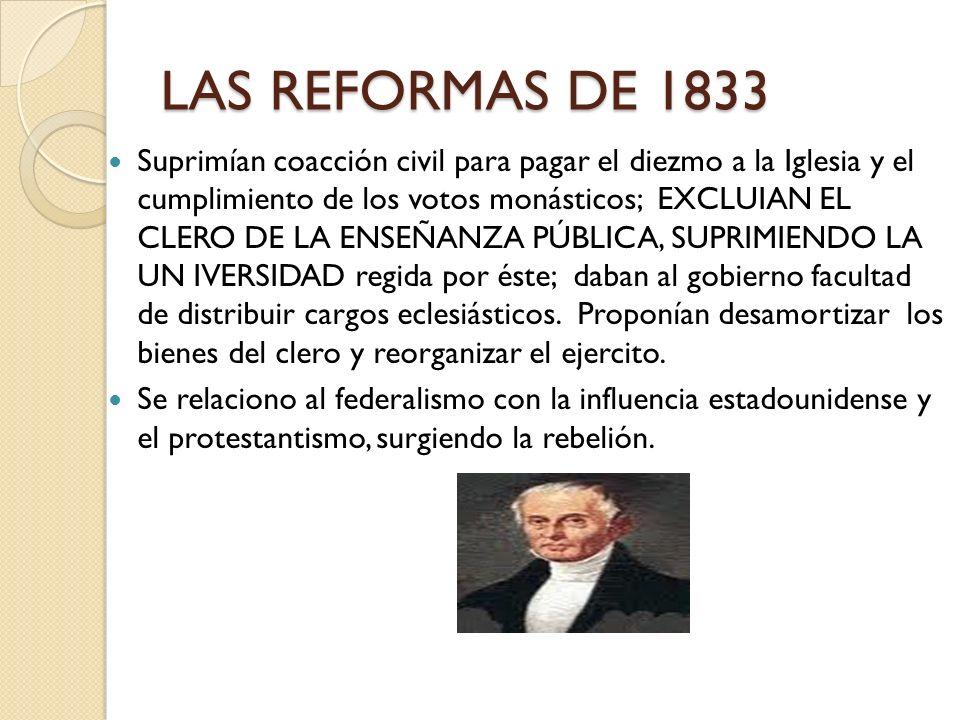 LAS REFORMAS DE 1833 Suprimían coacción civil para pagar el diezmo a la Iglesia y el cumplimiento de los votos monásticos; EXCLUIAN EL CLERO DE LA ENS