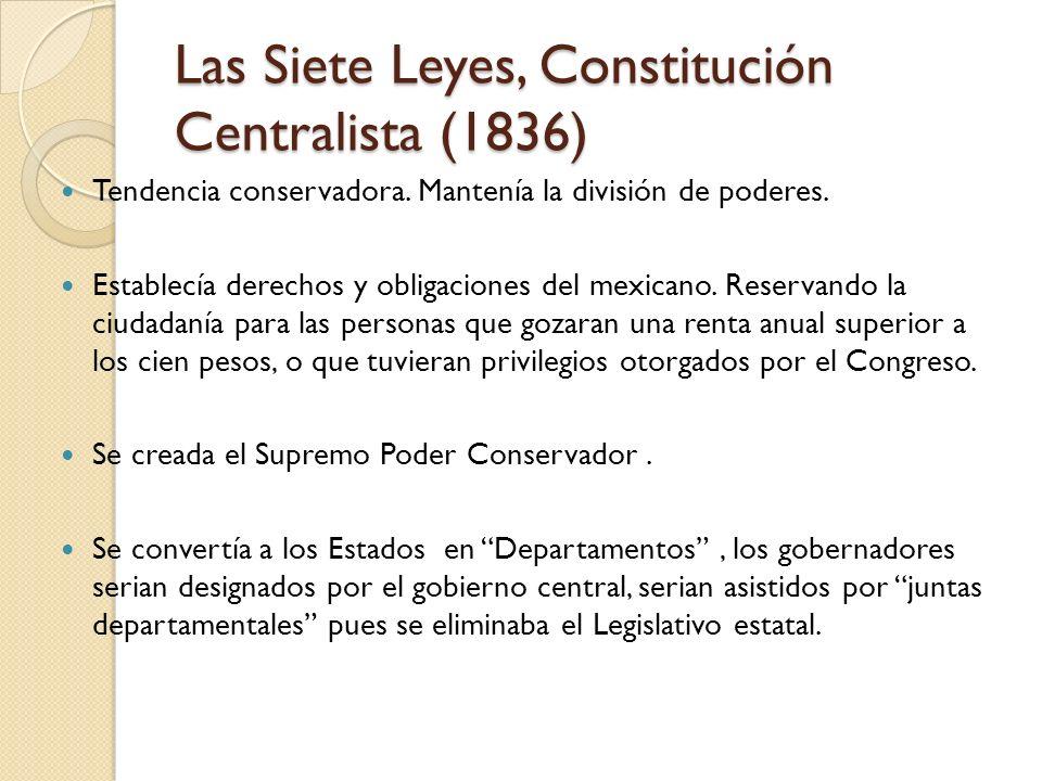 Las Siete Leyes, Constitución Centralista (1836) Tendencia conservadora. Mantenía la división de poderes. Establecía derechos y obligaciones del mexic